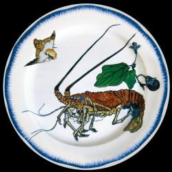 Bracquemond Langouste Assiette en tole sérigraphiee