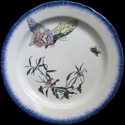 Bracquemond assiette clochettes papillon et mouche