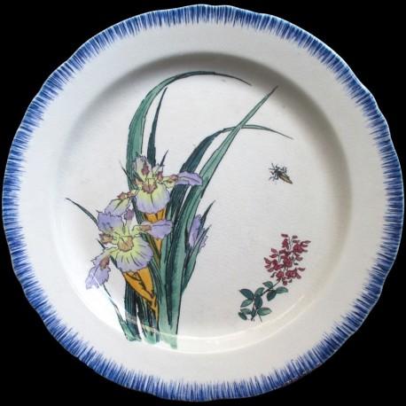 Assiette Iris bleu