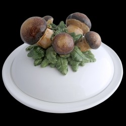 Champignons - assiette creuse avec cloche D 23 cm