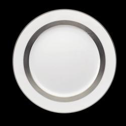 Assiette de table bordure platine satiné peint main