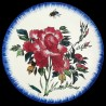 Majolica dessert plate red peonies and fly