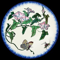 Plato de postre Enredadera, mariposa y saltamontes