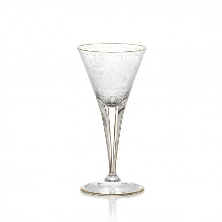 Flute à champagne en cristal gravé sans filet or 160 ml collection MAHARANI