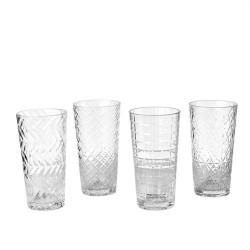 Long drink transparent ciselé H 17 cm l'unité
