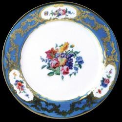 Assiette en tôle Manchester plate turquoise + fleurs