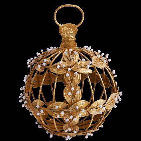 Boule de noël dorée avec perles D 11,5 cm