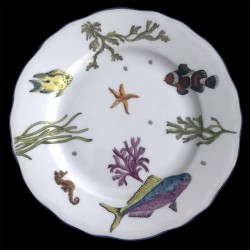 Assiette dessert poissons porcelaine de Limoges