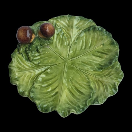 Majolica small cabbage plate Mushrooms