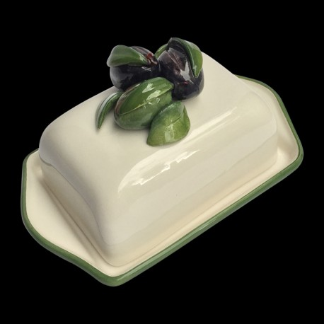 Majolica Olives butter dish