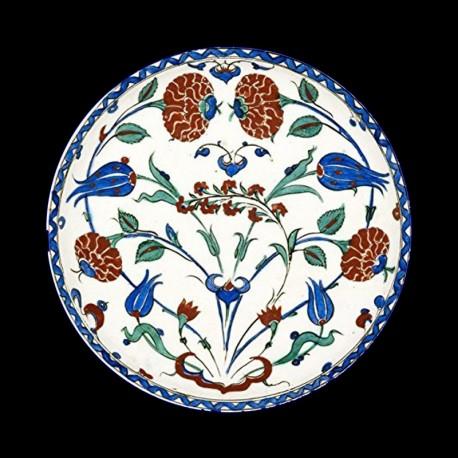 """Assiette en tôle """"Musées"""" Ashmolean Roses et Tulipes"""
