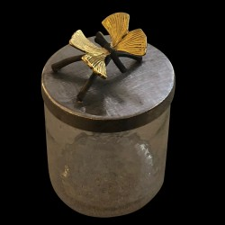 Glass Caner lid with Butterflies on twig
