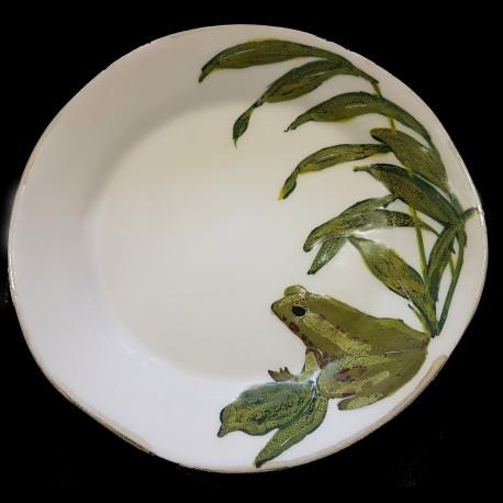 Majolica frog dessert plate