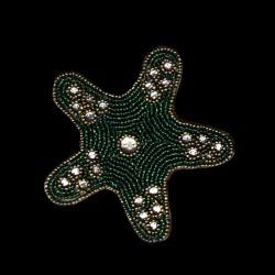 Green star embroidered coaster
