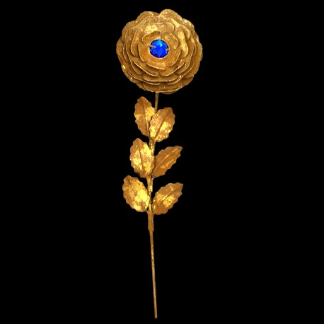 Golden rose branch with blue heart