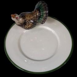 Coq de bruyère sur le bord d'une petite assiette à pain D16,6 cm