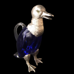 Aiguière canard bleu verre et métal argenté