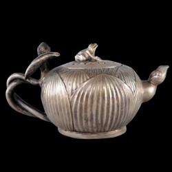 Théière chinoise argentée cira fin XIX siècle