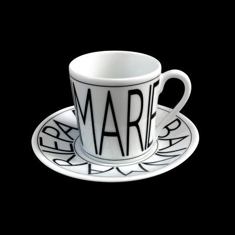 Tasse à café et sous-tasse porcelaine Graphique