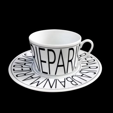 Tasse à thé et sous tasse-tasse porcelaine Graphique
