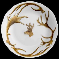Assiette creuse bois cerf et tête de cerf boiss de velours porcelaine de Limoges