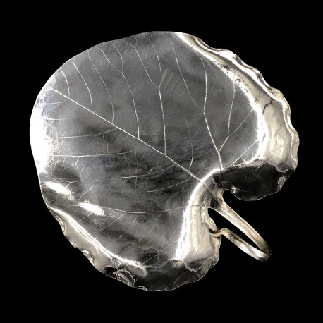 Paulownia leaf platter by Christofle, silver plated, c.1880