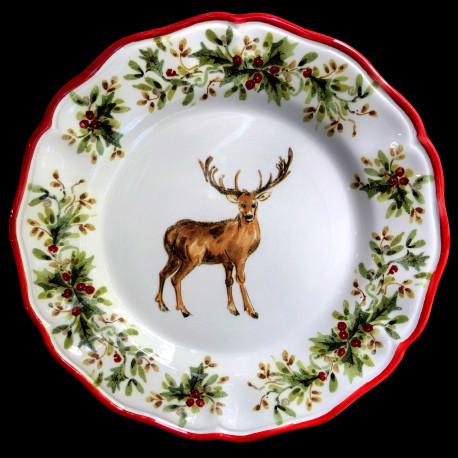 Assiette de table faïence Cerf Red Nose