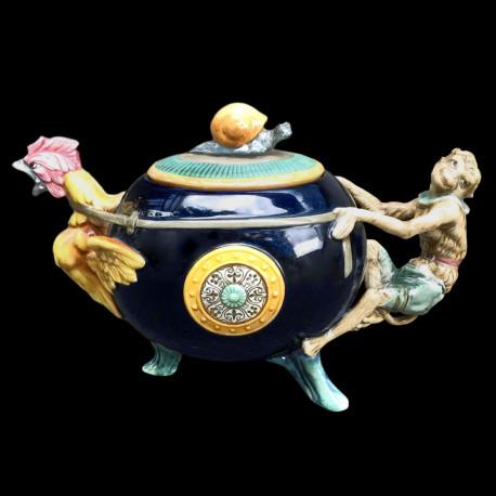 "Minton Majolica Teapot ""Cockerel & Monkey"""