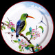 """Tin plate """"The Birds"""" Kingfisher and flowers"""