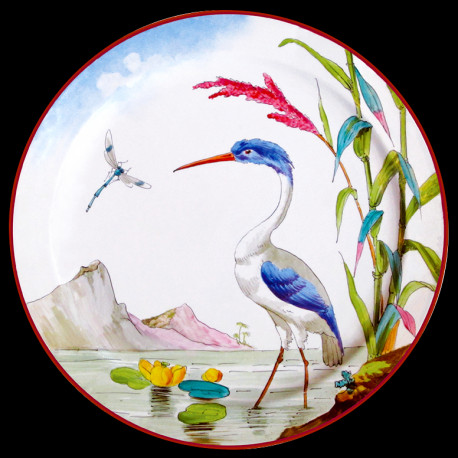 "Tin plate ""The Birds"" Buffon Great blue heron"