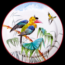 "Tin plate ""The Birds"" Buffon Celebes hornbill"