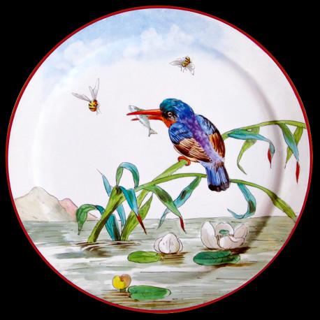 """Assiette en tôle """"Les Oiseaux"""" Martin-pêcheur"""