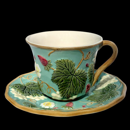 """Tasse à thé + sous tasse turquoise """"Georges Sand"""""""
