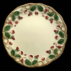 """Majolica Ivory and red fruits desert plate """"Georges Sand"""""""