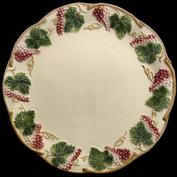 """Majolica Ivory and red fruits table plate """"Georges Sand"""""""