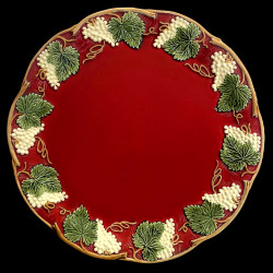 """Majolica red table plate """"Georges Sand"""""""