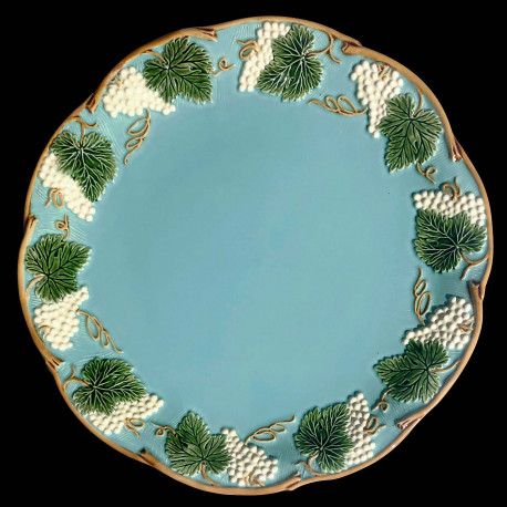 """Majolica turquoise table plate """"Georges Sand"""""""