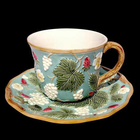"""Majolica turquoise breakfast cup and saucer """"George Sand"""""""