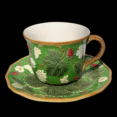"Tasse à déjeuner et sous tasse verte ""George Sand"""