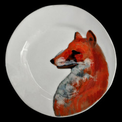 Majolica fox dessert plate