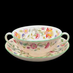 Tasse à bouillon et sous tasse Minton Haddon Hall
