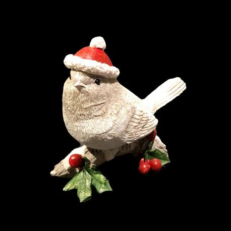 Oiseau avec chapeau Noël 11x10x4cm