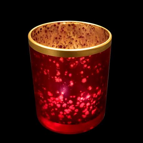 Bougeoir verre rouge et bord doré 8.5cm