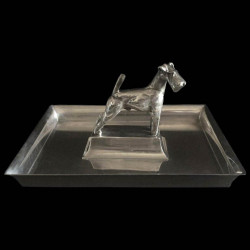 Art Deco silverplated tray by Gallia with a sculpted dog