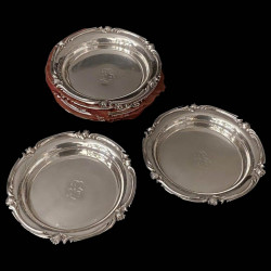 Set of 8 Old Christofle Bottle Coaster Silver Plated, 19th Century