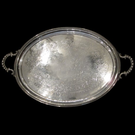 Oval large tray XIXth GB silver plated