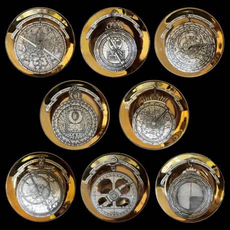 8 Assiettes Astrolabio signées Fornasetti 1970