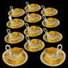12 Tasses et sous-tasses cygne dorées Dagoty 1804-1814