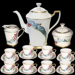 Service café 8 tasses sstasse cafetière pot sucrier porcelaine Dali N° 520