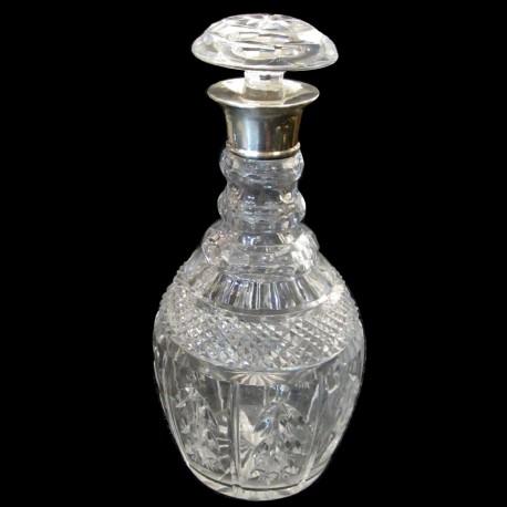 carafe cristal taillé col argent